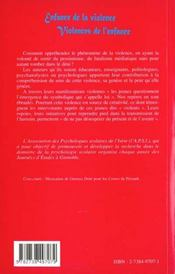 Enfance De La Violence ; Violence De L'Enfance - 4ème de couverture - Format classique