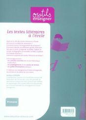 Les textes littéraires à l'école. - 4ème de couverture - Format classique