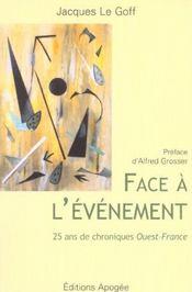Face a l'evenement - Intérieur - Format classique