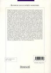 Recherche sur les intérêts moratoires - 4ème de couverture - Format classique