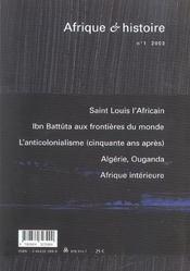 Afrique Et Histoire N.1 (édition 2003) - 4ème de couverture - Format classique