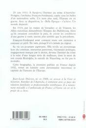 F. f.d'autriche-este de mayerling a sarajevo - 4ème de couverture - Format classique