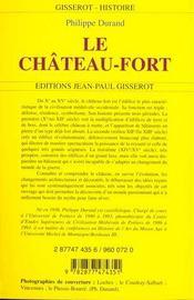 Le Chateau Fort - 4ème de couverture - Format classique