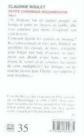 Petite chronique mozambicaine - 4ème de couverture - Format classique