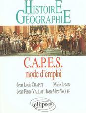 Capes Mode D'Emploi Histoire Geographie - Intérieur - Format classique
