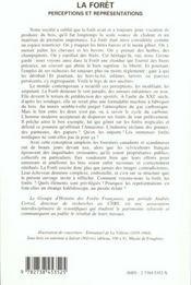 La Foret : Perceptions Et Representations - 4ème de couverture - Format classique