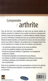 Comprendre l'arthrite - 4ème de couverture - Format classique