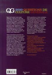 2000 questions de culture générale - 4ème de couverture - Format classique