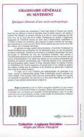 Grammaire Generale Du Sentiment - 4ème de couverture - Format classique