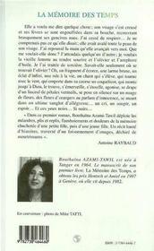 La Memoire Des Temps - 4ème de couverture - Format classique