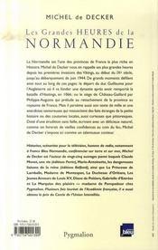 Les grandes heures de la normandie - 4ème de couverture - Format classique
