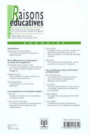 Raisons Educatives ; Definir Les Competences ; Necessite Ou Vogue Educative N.2 - 4ème de couverture - Format classique