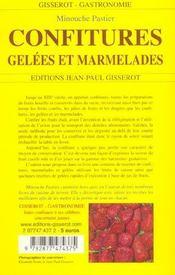 Confitures, Gelees Et Marmalades - 4ème de couverture - Format classique