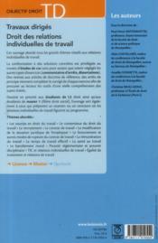 Travaux dirigés ; droit des relations individuelles de travail (5e édition) - 4ème de couverture - Format classique