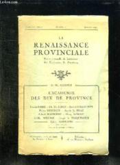 La Renaissance Provinciale N° 1 Janvier 1926. Revue Mensuelle De Litterature Des Ecrivains De Province. - Couverture - Format classique