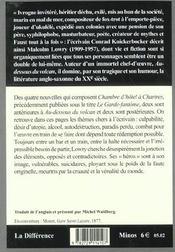 Chambre D'Hotel A Chartres - 4ème de couverture - Format classique