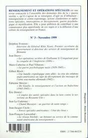 Renseignements Et Operations Speciales N.3 Novembre 1999 - 4ème de couverture - Format classique