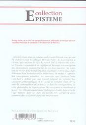 Merleau-Ponty De La Perception A L'Action - 4ème de couverture - Format classique