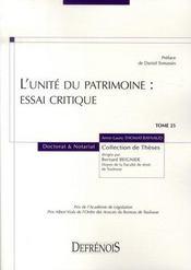 L'unité du patrimoine : essai critique - Intérieur - Format classique