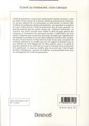 L'unité du patrimoine : essai critique - 4ème de couverture - Format classique