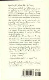 Vorleser (Der) - 4ème de couverture - Format classique