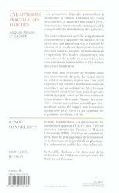 Une Approche Fractale Des Marches - 4ème de couverture - Format classique