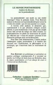 Le Monde Postmoderne - 4ème de couverture - Format classique