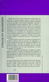 L'Italie En Transition ; Recul Des Partis Et Activation De La Fonction Presidentielle - 4ème de couverture - Format classique