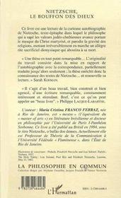 Nietzsche, Le Bouffon Des Dieux - 4ème de couverture - Format classique