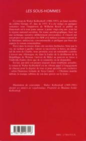 Les Sous-Hommes - 4ème de couverture - Format classique