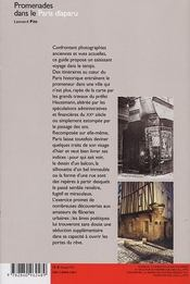 Promenades dans le paris disparu - 4ème de couverture - Format classique