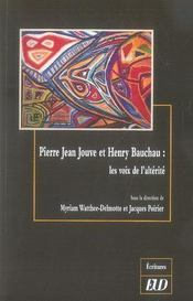 Pierre-jean jouve et henry bauchau ; les voix de l'altérité - Intérieur - Format classique