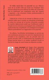 Un milieu social face à la pauvreté - 4ème de couverture - Format classique