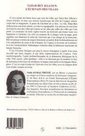 Tahar Ben Jelloun: l'écrivains des villes - 4ème de couverture - Format classique