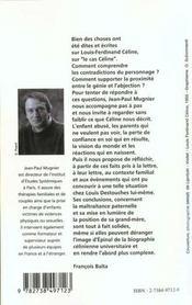 L'Enfance Meurtrie De Louis-Ferdinand Celine - 4ème de couverture - Format classique