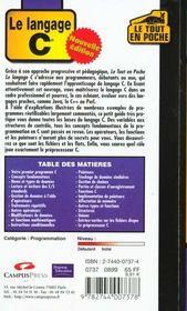 Le Tout En, Poche Le Langage C - 4ème de couverture - Format classique