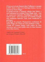 José Marti & Victor Hugo ; au carrefour des modernités - 4ème de couverture - Format classique