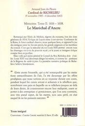 Mémoires t.2 ; (1616-1618) ; le maréchal d'Ancre - 4ème de couverture - Format classique