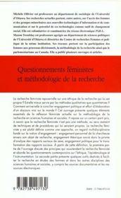 Questionnements Feministes Et Methodologie De La Recherche - 4ème de couverture - Format classique