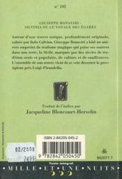 Silvinia ou le voyage des égarés - 4ème de couverture - Format classique
