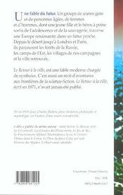 Le Retour A La Ville : Une Fable De L'Avenir - 4ème de couverture - Format classique