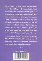 Dictionnaire insolite villepin de a à z - 4ème de couverture - Format classique