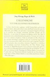 L'Allemagne Vue Par Les Suisses Allemands. Opinion No34 - 4ème de couverture - Format classique