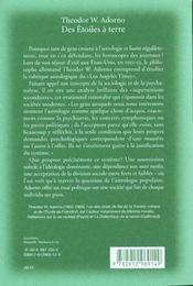 Des Etoiles Terre A Terre ; Etude Sur L'Astrologie Et La Superstion - 4ème de couverture - Format classique
