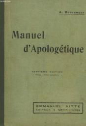 Manuel D'Apologetique - Couverture - Format classique