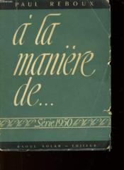 A La Maniere De... - Couverture - Format classique