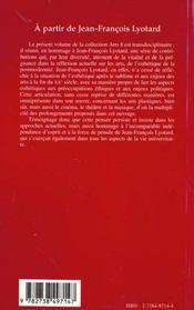 A Partir De Jean-Francois Lyotard - 4ème de couverture - Format classique