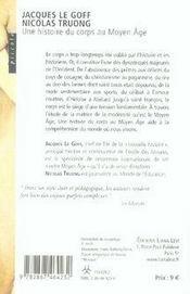 Une histoire du corps au Moyen Age - 4ème de couverture - Format classique