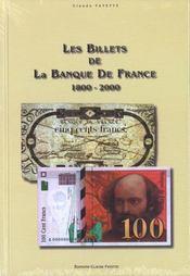 Les billets de la banque de france - Intérieur - Format classique