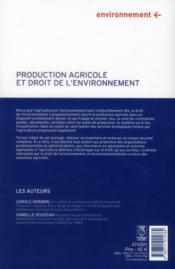 Production agricole et droit de l'environnement - 4ème de couverture - Format classique